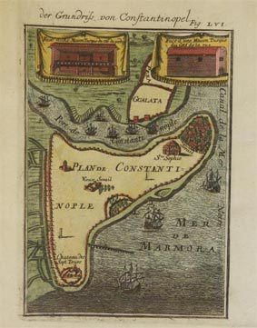 Konstantinopolis Planı. (( A.M. Mallet)Description de L'Universe Paris 1684