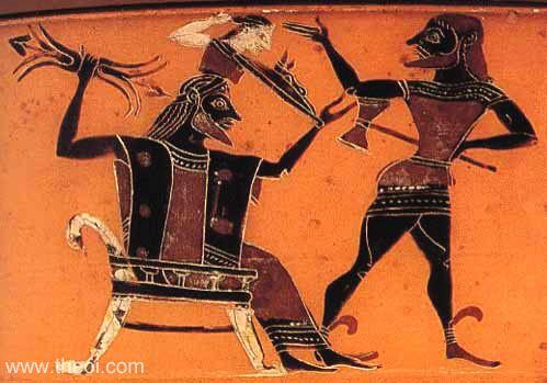 Athena'nın doğuşu, Zeus ve Hephaistos. Atina siyah figür kylix, M.Ö. 6. yy. British Museum